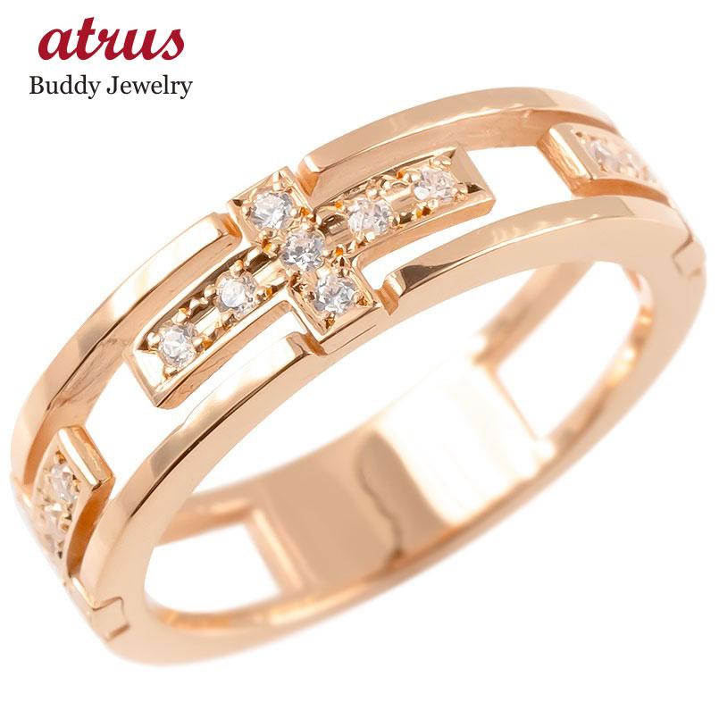 ゴールド リング キュービックジルコニア クロス メンズ 指輪 10K ピンクゴールドk10 ピンキーリング 十字架 透かし 男性用 コントラッド 東京 送料無料