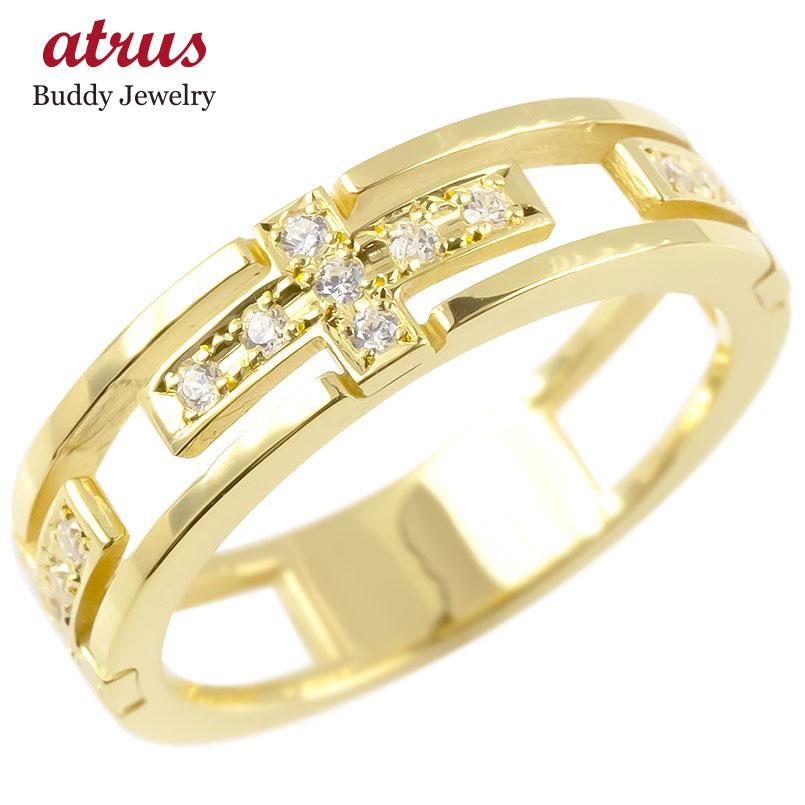 ゴールド リング キュービックジルコニア クロス メンズ 指輪 10K イエローゴールドk10 ピンキーリング 十字架 透かし 男性用 コントラッド 東京 送料無料