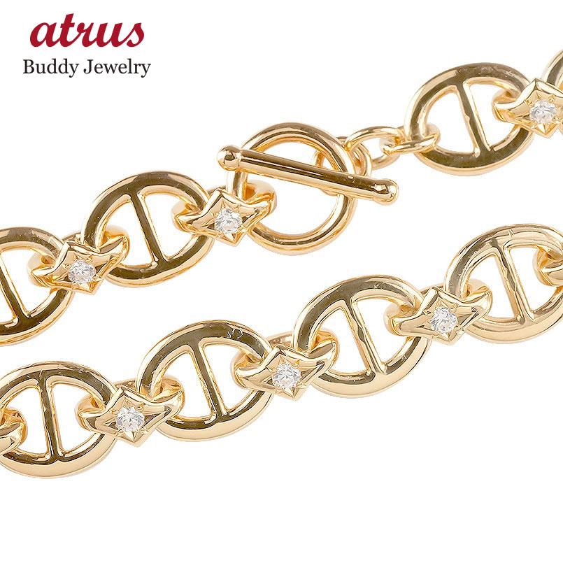 18金 ブレスレット ダイヤモンド メンズ トグルクラスプ 18K ゴールド ピンクゴールドk18 男性 アンカーチェーン マンテル ダイヤ 人気 送料無料