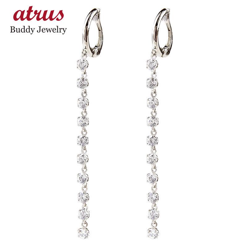 ピアリング イヤリング プラチナ ダイヤモンド pt900 シンプル ダイヤ ロングイヤリング レディース ノンホールピアス 送料無料