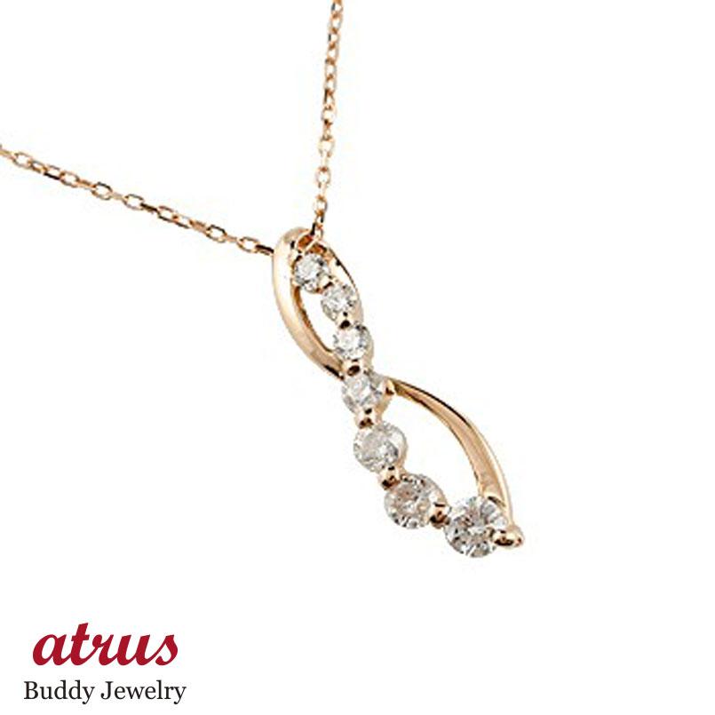 ダイヤモンド ネックレス ペンダント ダイヤ 0.20ct ピンクゴールドk18 18金 チャーム チェーン 人気 送料無料