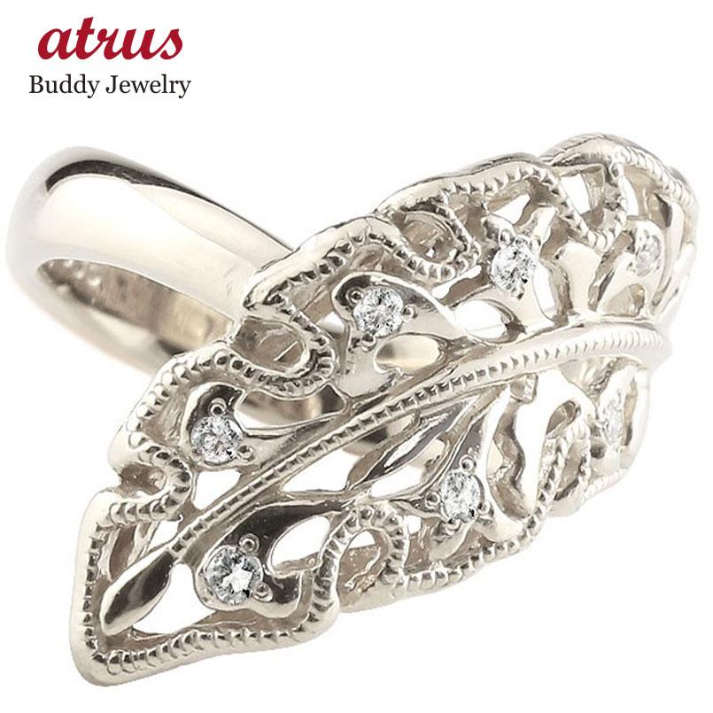 メンズ ダイヤモンドリング プラチナリング 指輪 幅広指輪 婚約指輪 エンゲージリング シンプル リーフ pt900 送料無料
