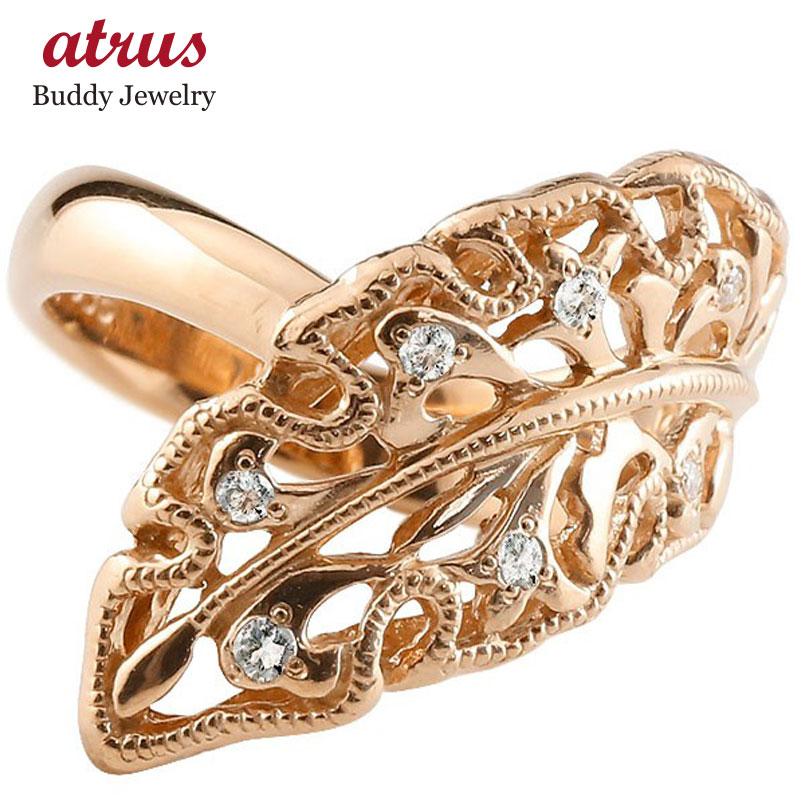 メンズ ダイヤモンドリング ピンクゴールドk18 指輪 リーフ 婚約指輪 エンゲージリング 幅広指輪 シンプル 18金 送料無料