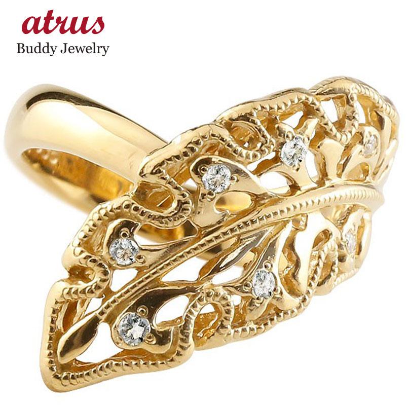 婚約指輪 エンゲージリング イエローゴールドk10 ダイヤモンド リング 指輪 リーフ 幅広指輪 シンプル 10金 レディース 送料無料