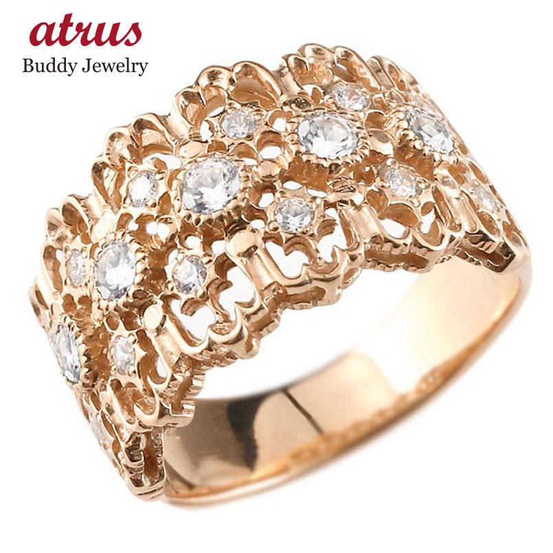 メンズ ダイヤモンドリング ピンクゴールドk18 指輪 婚約指輪 エンゲージリング 幅広指輪 シンプル 18金 送料無料