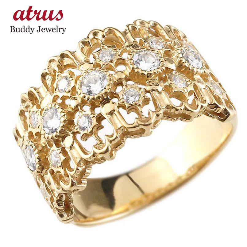 メンズ ダイヤモンドリング イエローゴールドk18 指輪 幅広指輪 婚約指輪 エンゲージリング シンプル 18金 送料無料