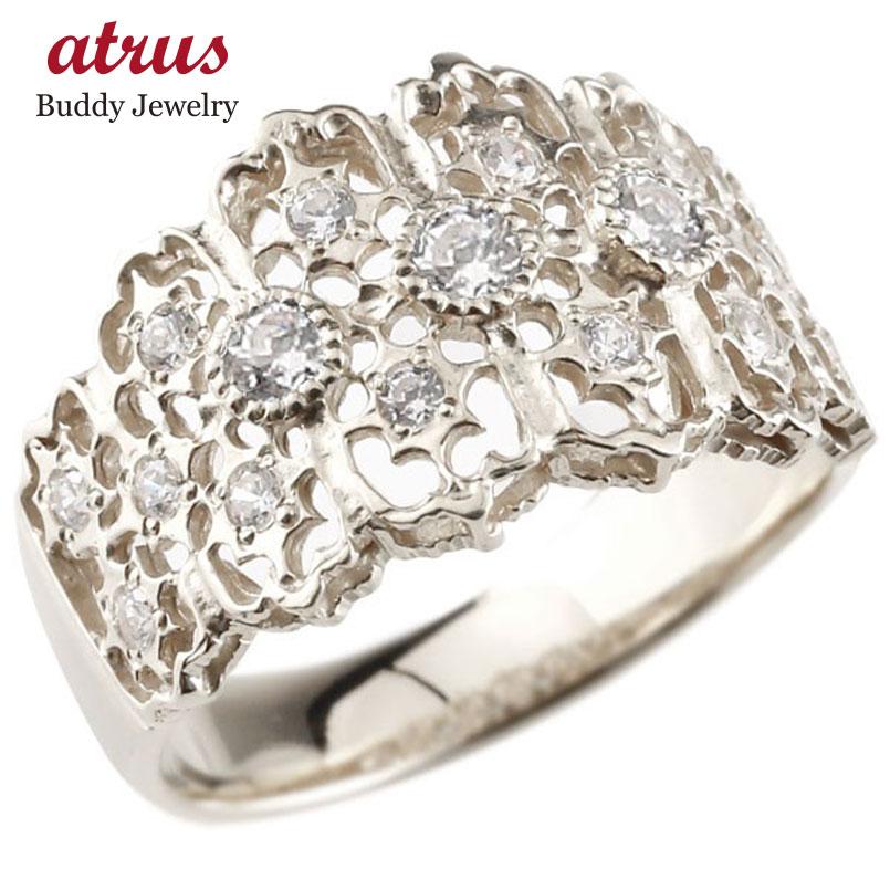 メンズ ダイヤモンドリング 指輪 幅広指輪 婚約指輪 エンゲージリング ホワイトゴールドk10 シンプル 10金 送料無料