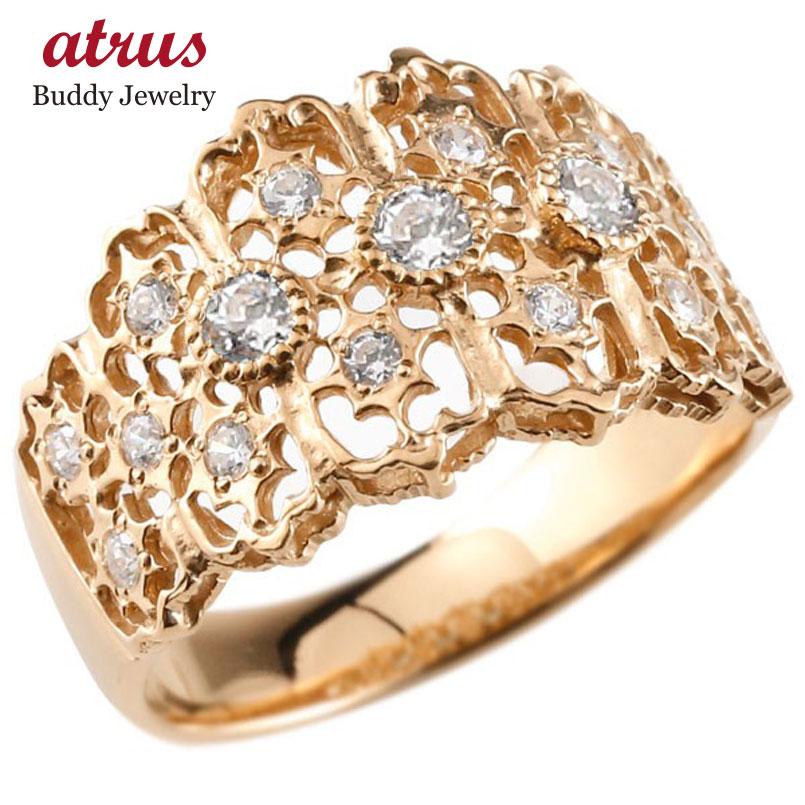 ピンキーリング 指輪 ピンクゴールドk18 ダイヤモンド リング 指輪 幅広指輪 シンプル 18金 レディース 送料無料