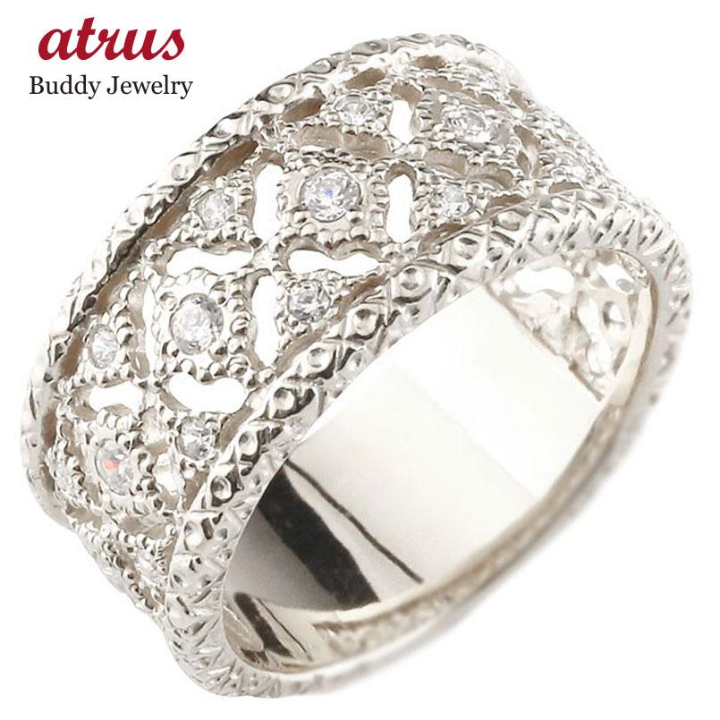 メンズ ダイヤモンドリング ホワイトゴールドk18 指輪 幅広指輪 婚約指輪 エンゲージリング シンプル 18金 送料無料