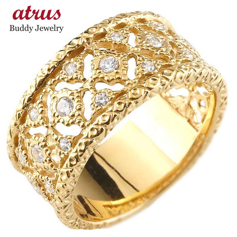 婚約指輪 エンゲージリング イエローゴールドk10 ダイヤモンド リング 指輪 幅広指輪 シンプル 10金 レディース 送料無料
