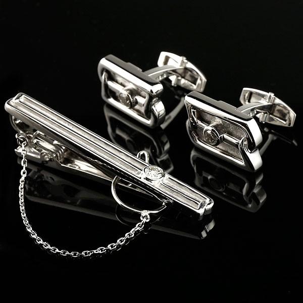 メンズジュエリー ダイヤモンド カフス タイホルダー ネクタイピン タイバー ホワイトゴールドk18 18金 メタリック 3点セット 男性用 送料無料