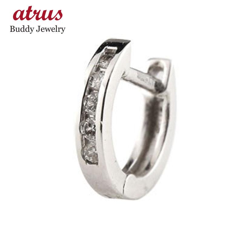 片耳ピアス フープピアス ダイヤモンド 中折れ式ピアス ホワイトゴールドk18 ダイヤ レディース 宝石 ピアス リング 送料無料