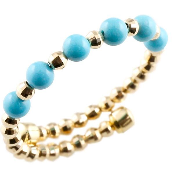 18金 リング レディース フリーサイズ ゴールド 18k ターコイズ シンプル イエローゴールドk18 トルコ 指輪 形状記憶 12月誕生石 女性 プレゼント 送料無料