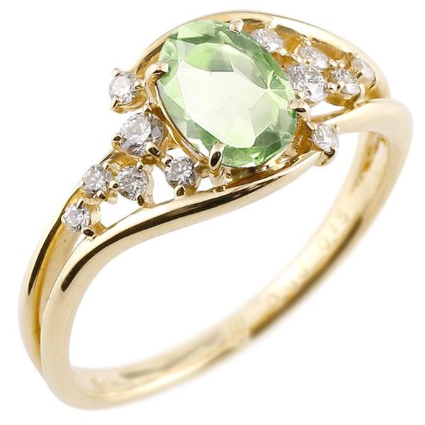 エンゲージリング 婚約指輪 一粒 ペリドット イエローゴールドk18 大粒 指輪 ダイヤモンド 8月誕生石 18金 宝石 送料無料