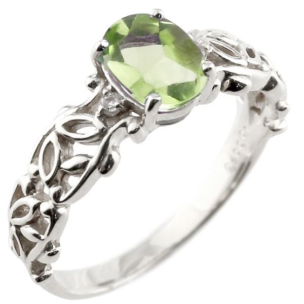 一粒 ペリドット ホワイトゴールドk18 大粒 指輪 ダイヤモンド 8月誕生石 18金 ストレート 宝石 送料無料