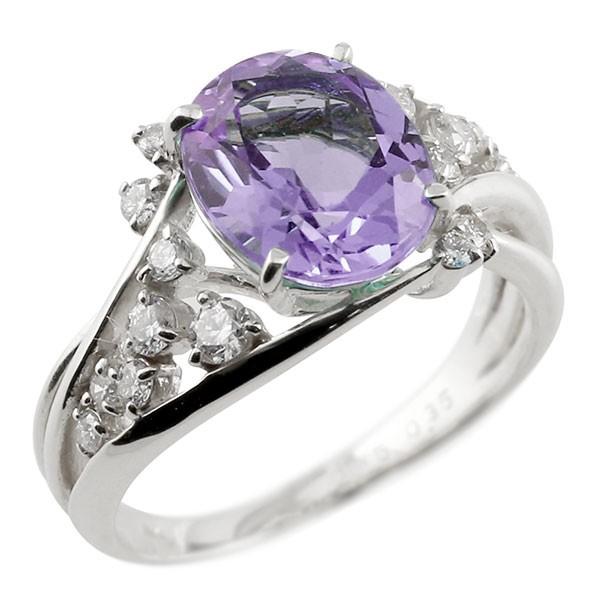 ピンキーリング 一粒 アメジスト ホワイトゴールドk18 大粒 指輪 ダイヤモンド 2月誕生石 18金 宝石 送料無料