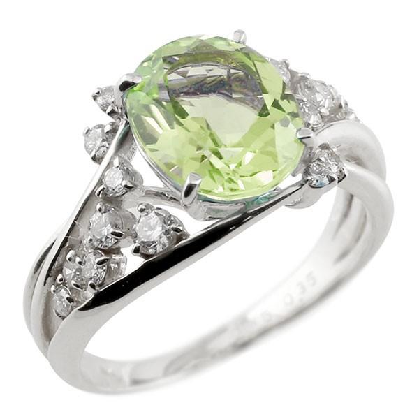 プラチナ 一粒 ペリドット 大粒 指輪 ダイヤモンド 8月誕生石 宝石 送料無料