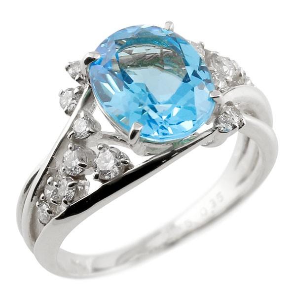ピンキーリング プラチナ 一粒 ブルートパーズ 大粒 指輪 ダイヤモンド 11月誕生石 宝石 送料無料