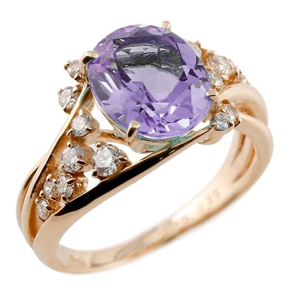 エンゲージリング 婚約指輪 一粒 アメジスト ピンクゴールドk18 大粒 指輪 ダイヤモンド 2月誕生石 18金 宝石 送料無料