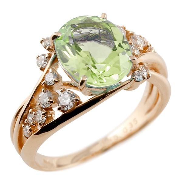 エンゲージリング 婚約指輪 一粒 ペリドット ピンクゴールドk10 大粒 指輪 ダイヤモンド 8月誕生石 10金 宝石 送料無料