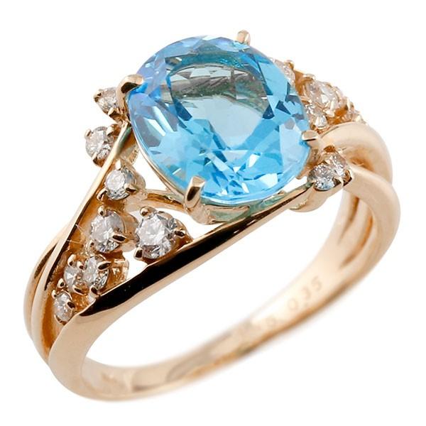 エンゲージリング 婚約指輪 一粒 ブルートパーズ ピンクゴールドk18 大粒 指輪 ダイヤモンド 11月誕生石 18金 宝石 送料無料