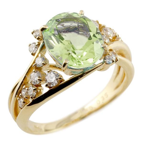 一粒 ペリドット イエローゴールドk18 大粒 指輪 ダイヤモンド 8月誕生石 18金 宝石 送料無料