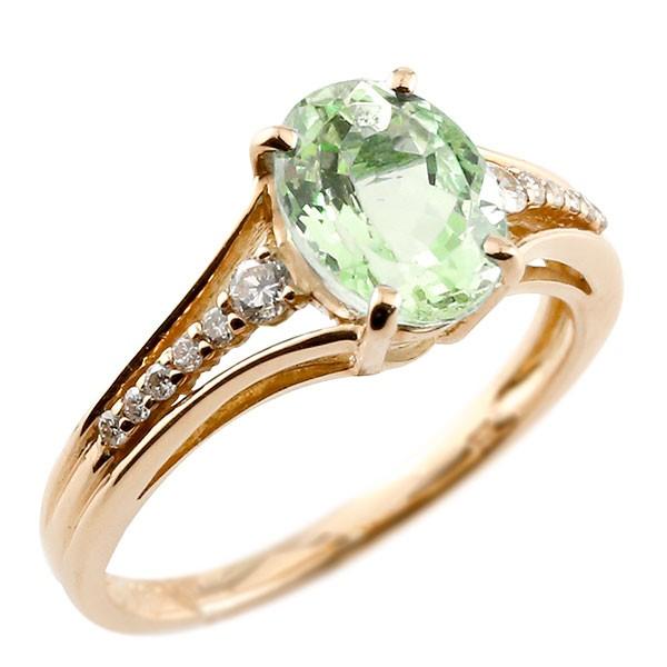 エンゲージリング 婚約指輪 一粒 ペリドット ピンクゴールドk18 大粒 指輪 ダイヤモンド 8月誕生石 18金 ストレート 宝石 送料無料
