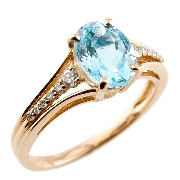 一粒 ブルートパーズ ピンクゴールドk18 大粒 指輪 ダイヤモンド 11月誕生石 18金 ストレート 宝石 送料無料