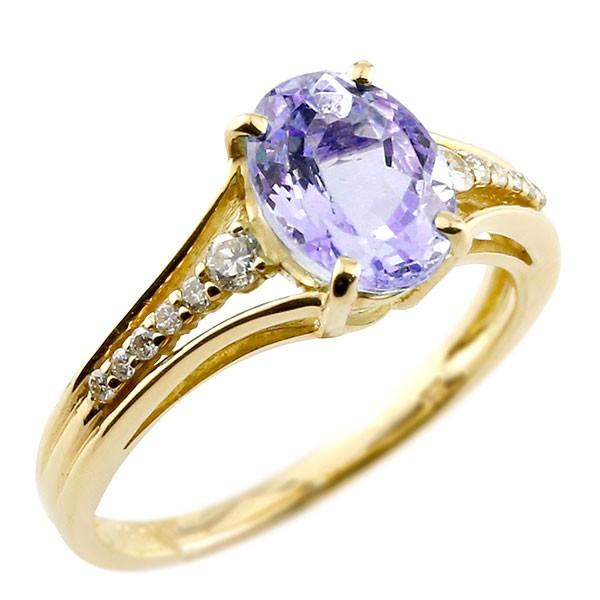 ピンキーリング 一粒 アメジスト イエローゴールドk10 大粒 指輪 ダイヤモンド 2月誕生石 10金 ストレート 宝石 送料無料