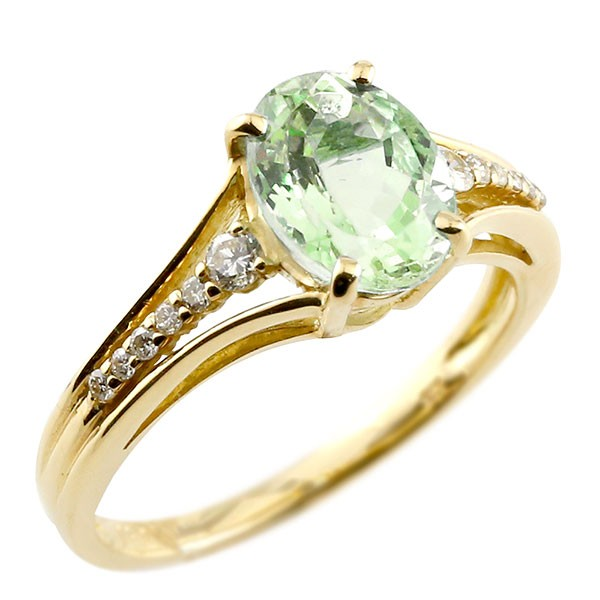エンゲージリング 婚約指輪 一粒 ペリドット イエローゴールドk10 大粒 指輪 ダイヤモンド 8月誕生石 10金 ストレート 宝石 送料無料