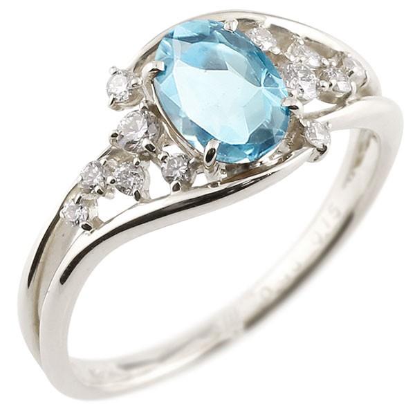 エンゲージリング 婚約指輪 一粒 ブルートパーズ ホワイトゴールドk18 大粒 指輪 ダイヤモンド 11月誕生石 18金 宝石 送料無料