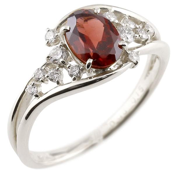 一粒 ガーネット ホワイトゴールドk10 大粒 指輪 ダイヤモンド 1月誕生石 10金 宝石 送料無料
