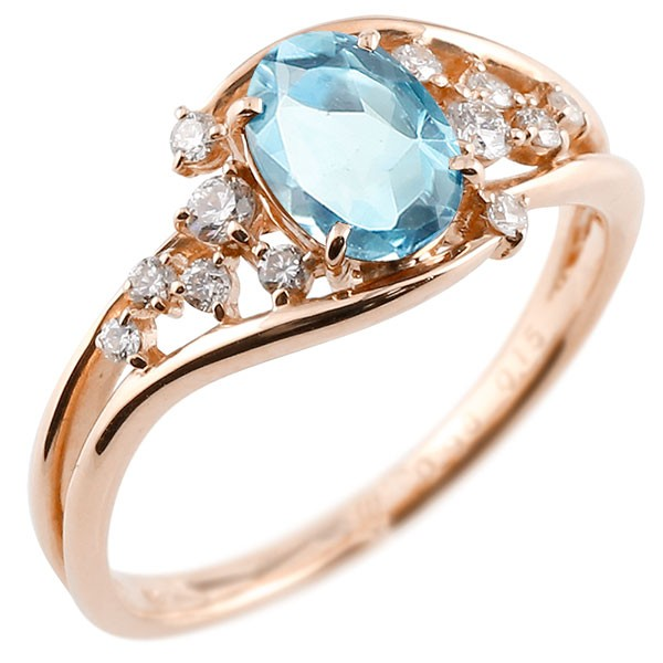 エンゲージリング 婚約指輪 一粒 ブルートパーズ ピンクゴールドk10 大粒 指輪 ダイヤモンド 11月誕生石 10金 宝石 送料無料
