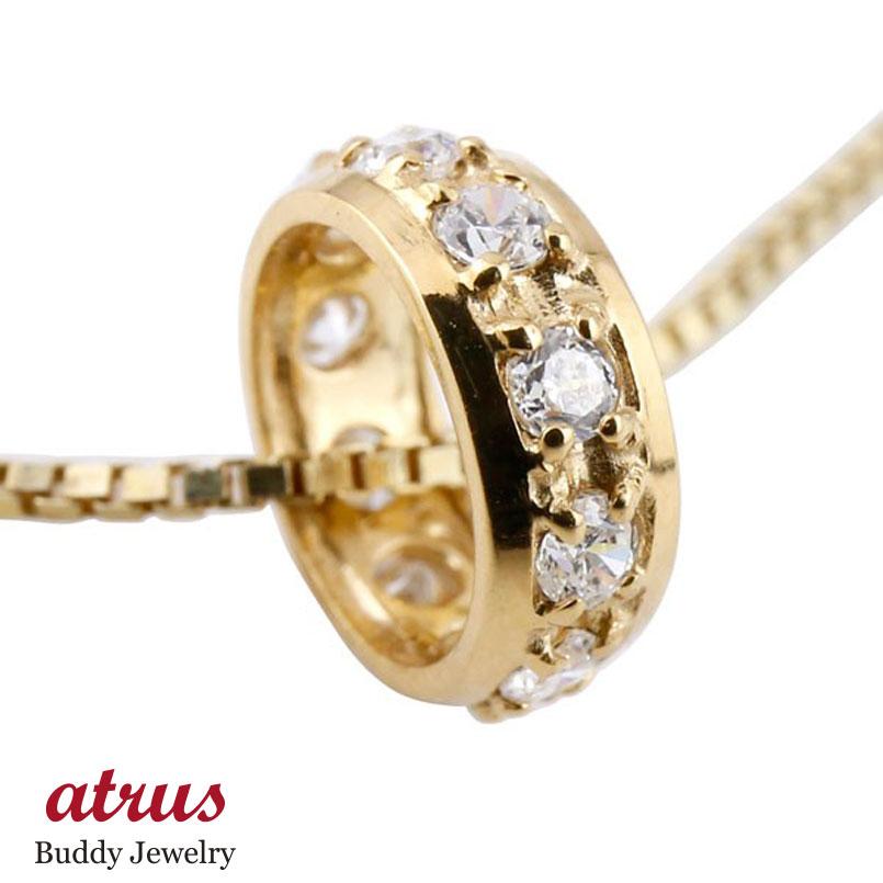 ダイヤモンド ペンダントイエローゴールドk10 ダイヤ ネックレス トップ リングネックレス トップ エタニティー 10金 チェーン 人気 送料無料