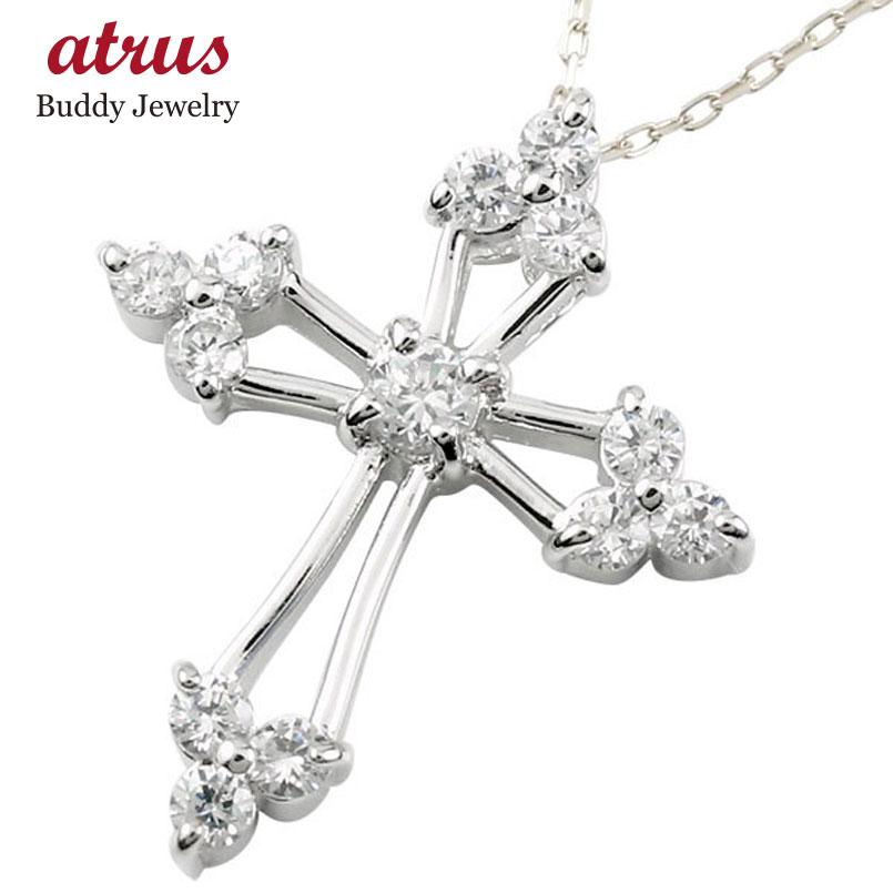 ネックレス クロス ダイヤモンド シルバー ペンダント ダイヤ チェーン 十字架 人気 送料無料