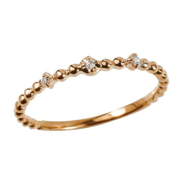 指輪 ピンキーリング 婚約指輪 ダイヤモンド ピンクゴールドk10 細い 華奢宝石 レディース 安い 送料無料