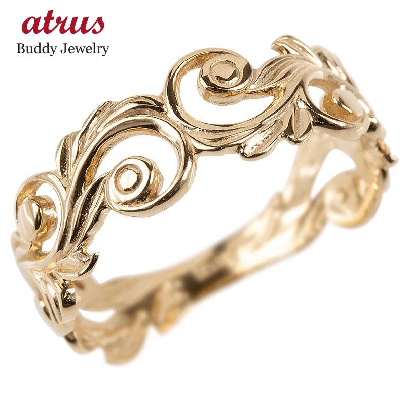 ゴールド リング レディース ハワイアンジュエリー 指輪 10k ピンクゴールドk10 透かし 婚約指輪 スクロール マイレ ピンキーリング 地金 シンプル 送料無料