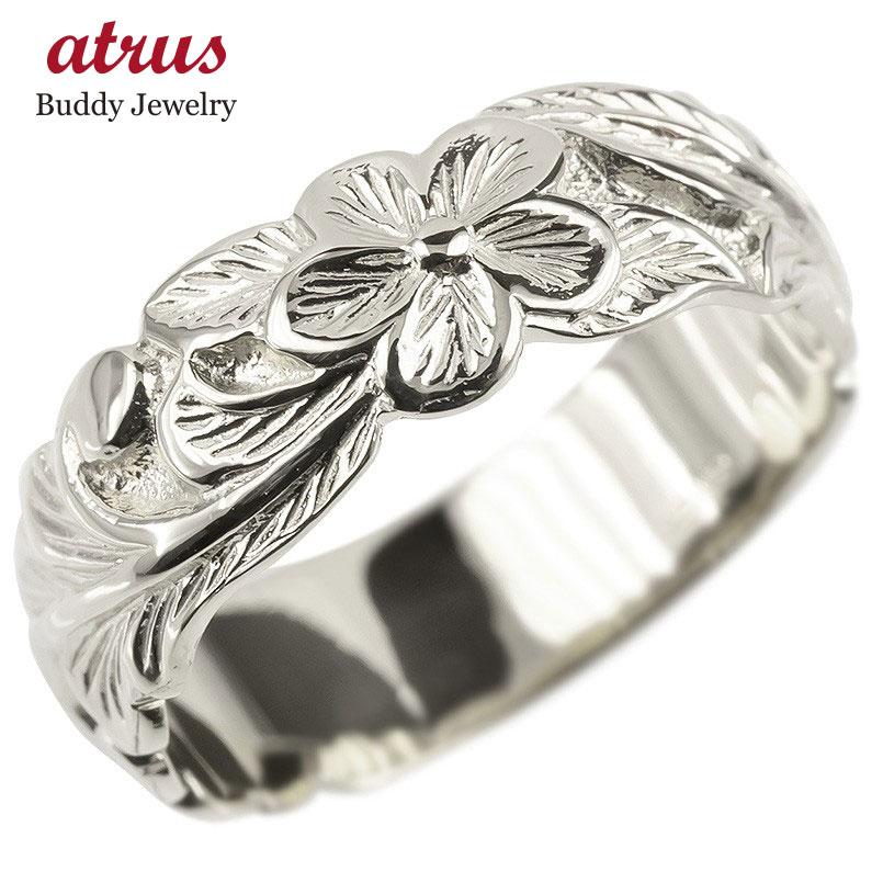 ゴールド リング レディース ハワイアンジュエリー 指輪 ホワイトゴールドk10 幅広 婚約指輪 安い プルメリア ピンキーリング 地金 シンプル 女性 送料無料