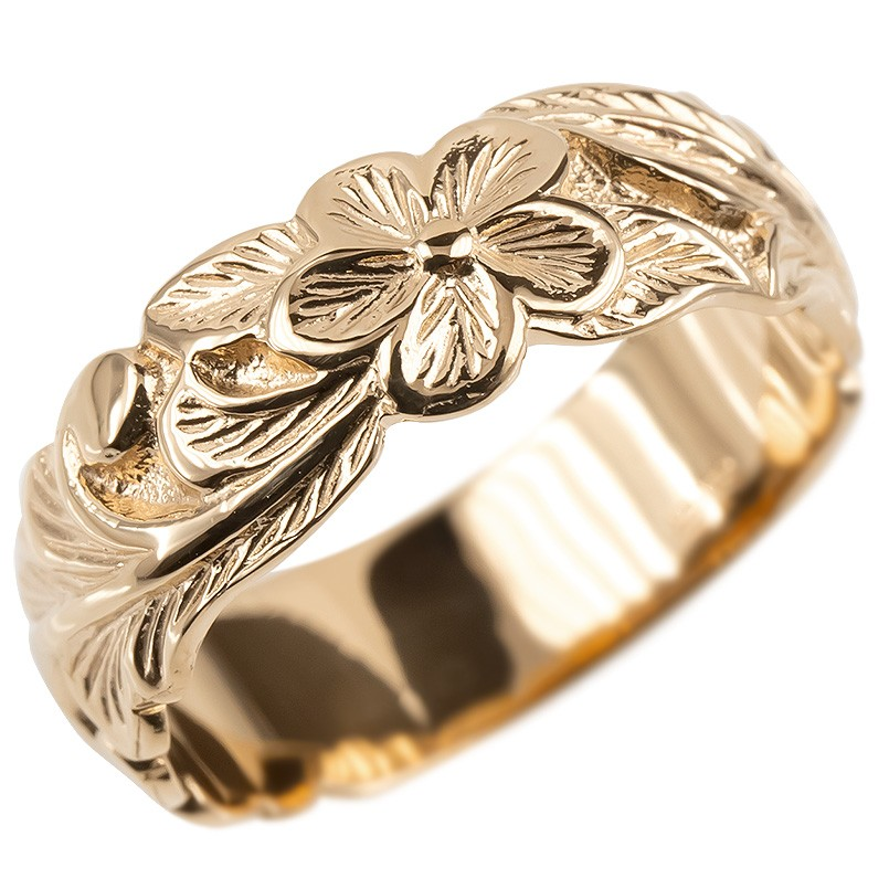 ゴールド リング メンズ ハワイアンジュエリー 指輪 ピンクゴールドk10 幅広 プルメリア ピンキーリング 地金 シンプル 男性 送料無料
