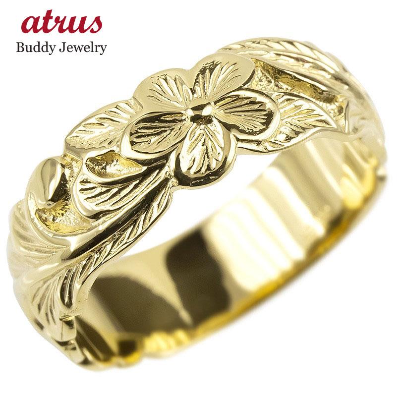 ゴールド リング レディース ハワイアンジュエリー 指輪 イエローゴールドk10 幅広 婚約指輪 安い プルメリア ピンキーリング 地金 シンプル 女性 送料無料