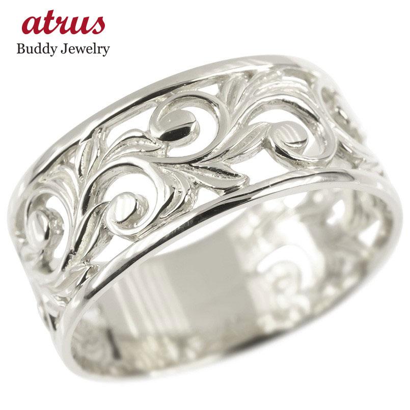 18金 リング ゴールド レディース ハワイアンジュエリー 指輪 ホワイトゴールドk18 透かし 幅広 婚約指輪 安い ピンキーリング 地金 シンプル 女性 送料無料