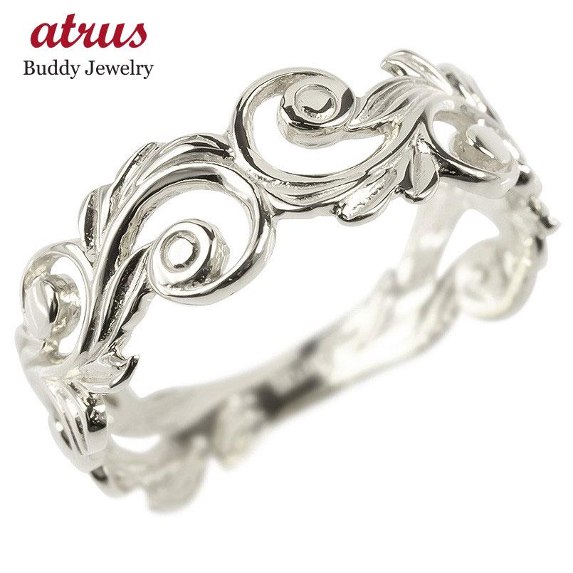 18金 リング ゴールド レディース ハワイアンジュエリー 指輪 ホワイトゴールドk18 透かし 婚約指輪 スクロール マイレ ピンキーリング 地金 シンプル 送料無料