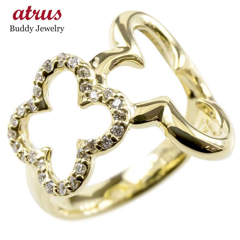 ゴールド リング ダイヤモンド レディース クローバー 指輪 幅広 イエローゴールドk10 透かし 婚約指輪 安い ピンキーリング 花 送料無料
