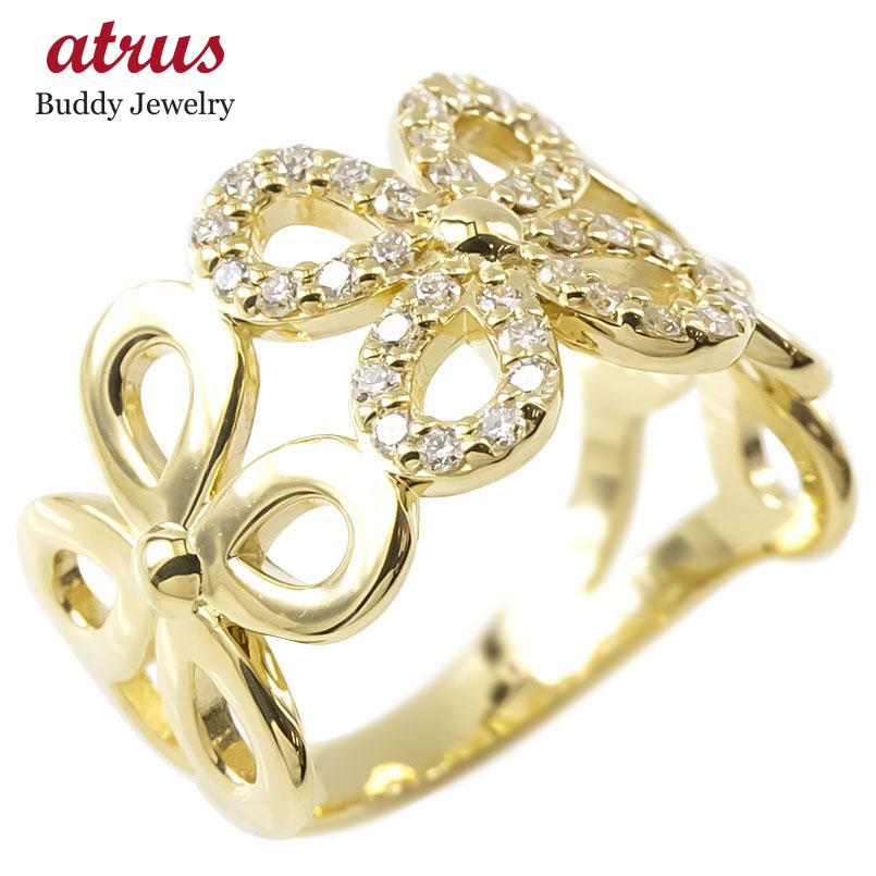 18金 リング ゴールド ダイヤモンド レディース フラワー 指輪 幅広 イエローゴールドk18 透かし 婚約指輪 安い ピンキーリング 花 送料無料