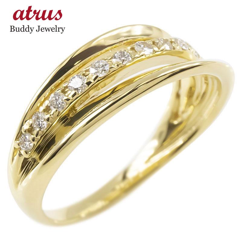 18金 リング ゴールド ダイヤモンド レディース 3連リング 指輪 イエローゴールドk18 婚約指輪 安い ピンキーリング 送料無料