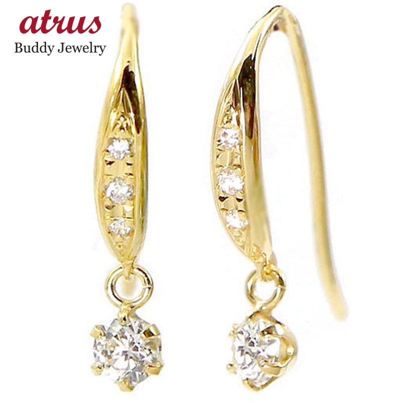 k18 ピアス レディース ゴールド ダイヤモンド フックピアス 18金 シンプル イエローゴールドk18 女性 ダイヤ 揺れる ロングピアス 人気 宝石 本物 送料無料