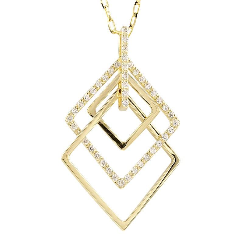 18金 ネックレス ダイヤモンド レディース ゴールド 18K イエローゴールドK18 菱形 3連 ペンダント シンプル ダイヤ グリームカットチェーン 女性 大人 送料無料