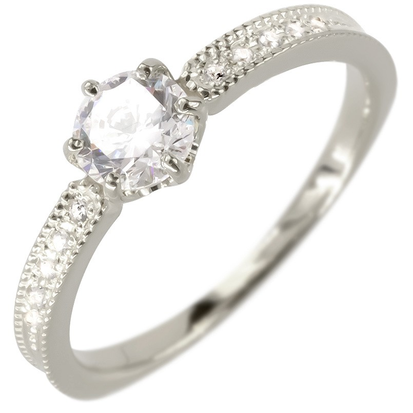 プラチナ リング レディース ダイヤモンド 鑑定書付き VSクラス 婚約指輪 安い エンゲージリング ダイヤ 指輪 ピンキーリング ミル打ち pt900 女性 送料無料