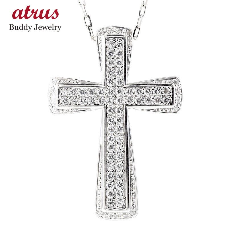 シルバー ネックレス メンズ ダイヤモンド クロス sv925 ペンダント ダイヤ 男性 大人 十字架 人気 送料無料 父の日