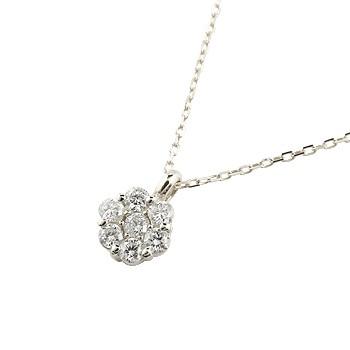パヴェ ダイヤモンド ネックレス フラワー ペンダント ダイヤ ホワイトゴールドk18 18金 チェーン 人気 送料無料 母の日